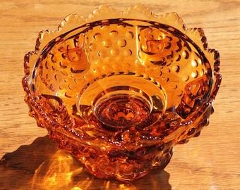 Fenton Candle Bowl  Amber Hobnail - Vintage - Pre-1972