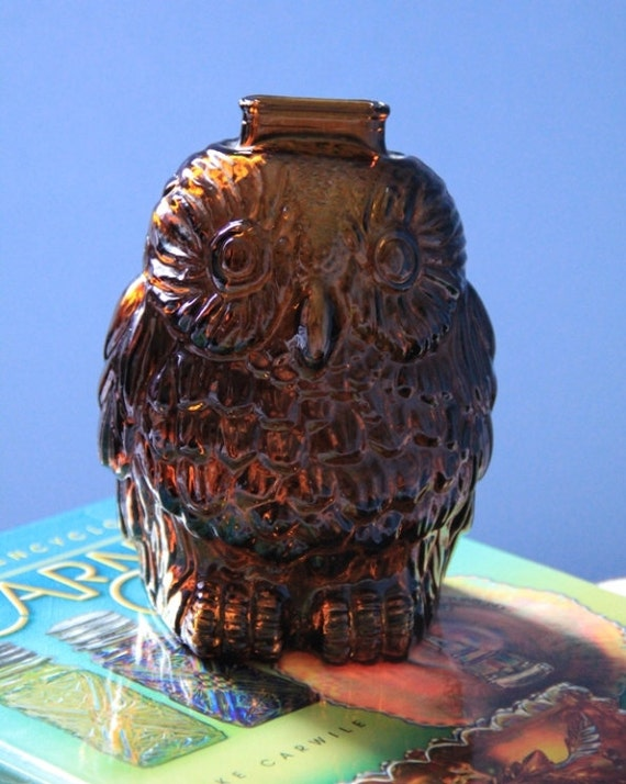 Wise old owl dark amber glass bank libbey of canada - Wise old owl glass bank ...
