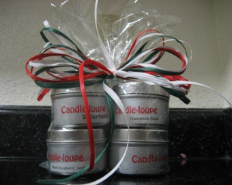 Set of four 4 ounce candle tins. Great gift idea