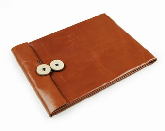 Leather iPad Case/iPad Bag/iPad Sleeve/iPad Cover Calfskin Leather Button Closure Unique-Orange Brown