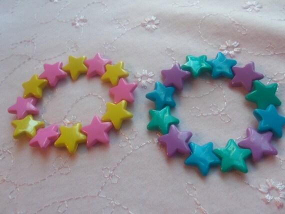 FREE SHIPPING 2 Kawaii Kandi Big Star Bracelets