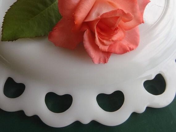 Vintage Lace Edge Milk Glass Cake Plate Platter