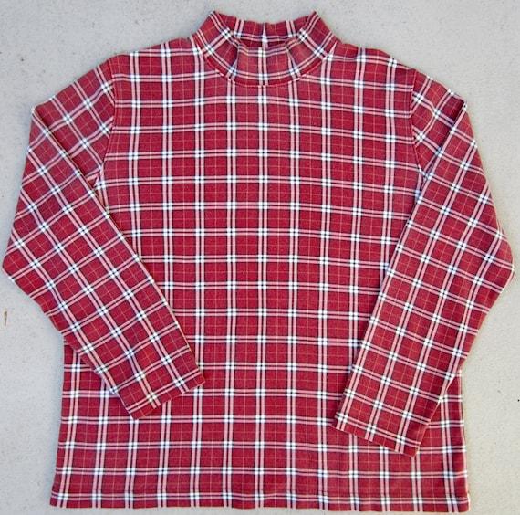 Ugly Christmas Sweater Under Shirt, Xmas Mock Turtleneck Vintage Holiday Novelty Plaid Large L
