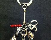 50 Shades of Grey Trilogy Inspired Charm Keychain Ring w/ Swarovski Crystals
