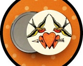"""Tattoo SPARROWS  2.25 inch pocket MIRROR, button or magnet 2 1/4"""" size"""