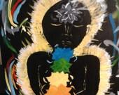 Chakra Glow Original acrylic painting 18x24 bright colors on black