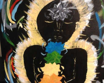 Chakra Glow Original acrylic painting 18x24 bright colors on black