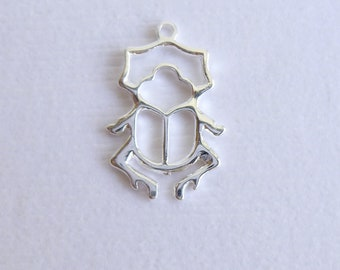 Sterling Silver Beetle Charm -- 1 Piece -- 925 Sterling Openwork Insect Bug Pendant Connector