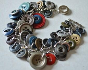 Handmade Vintage Button Bracelet SB39 industrial chic work clothes paper work buttons