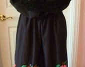 Two Piece Embroidered Mexican Fiesta Skirt Top Set in Black XL