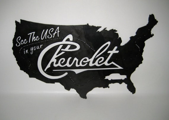 ON SALE! See the USA in your Chevrolet Sign Steel Handmade Custom Metal Art Plasma Cut