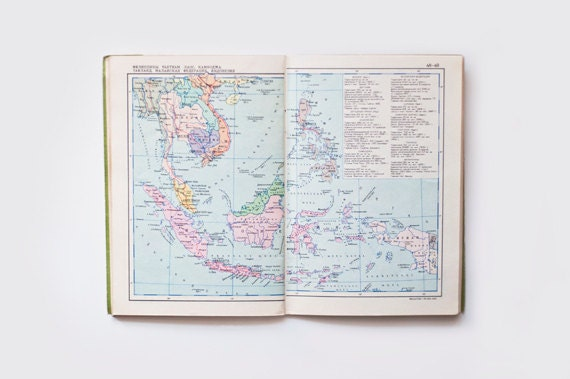 Vintage map book - soviet ATLAS
