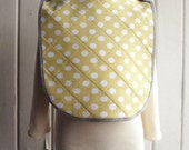 Reversible Unisex Hand Quilted & Hand Printed Organic Cotton Bib with Envelope Shoulder in Yellow and White Polka Dot