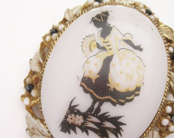 Vintage Lady Gold Black and White Brooch or Pendant
