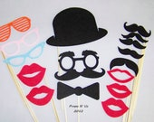 100% Felt Photobooth Props Mustache on a Stick 16 piece Wedding Party Photo Booth Prop Kit- NEW