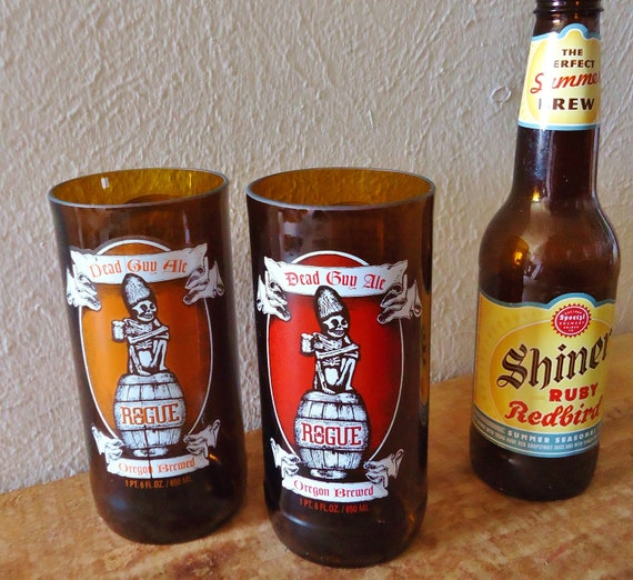 Dead Guy Ale Recycled Beer Bottle Glasses made from Rogue Ale Beer Bottles Set of 2