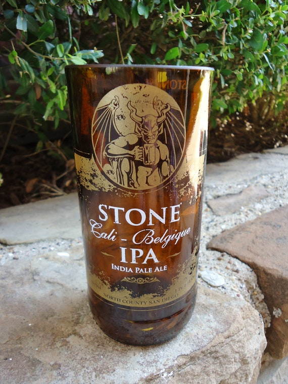 Recycled Beer Bottle Glass from a Stone Cali Belgique IPA Bottle