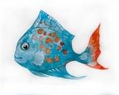 Watercolor painting-Blue fish in watercolor-Art original