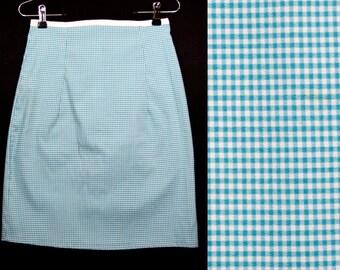 "10 Dollar SALE---Vintage 80's Light Blue & White Checker Pencil Skirt 27"" Waist"