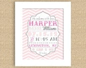 PRINTABLE Chevron Baby Birth Announcement Wall Art Print - Can do any color