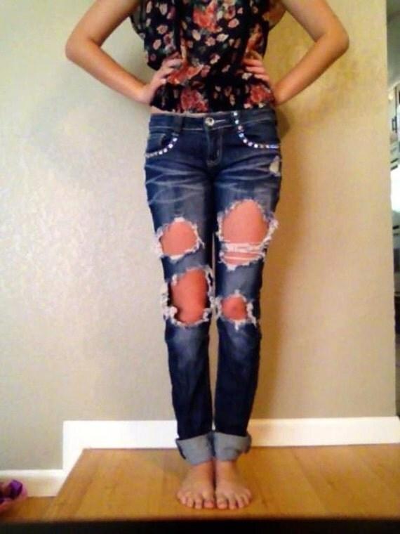 DISTRESSED RHINESTONE Skinny Jeans Womens Size 1