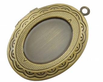 1 PCS Antique Bronze Locket Cabochon Setting