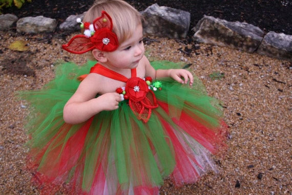 Christmas Tutu Dress, Christmas Dress, Red Green White Dress, Holiday Dress, Outfit of Choice, Pageants, Flower Girl Dress