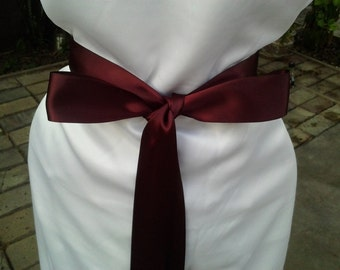 3-Yard Burgundy Wedding Sash/ Double Face Satin Sash/Bridal Sash Burgundy Satin Ribbon/ ready to Ship.Bridal Bridesmaids, Flower girl Sashes