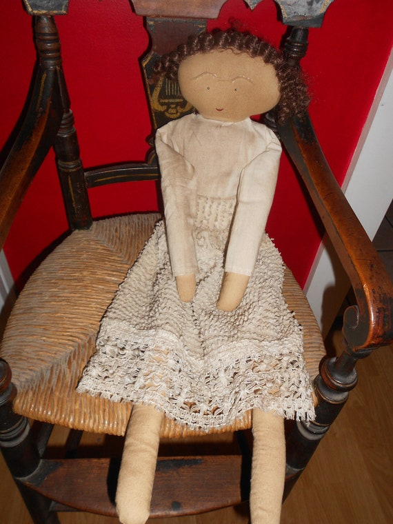 Reserved for Mary   ---  DOLL - CLEARANCE - Primitive Folk Art Cloth with Chenille and Lace Dress