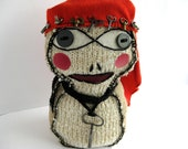 Paul Klee, Momiji Style Doll, Antique Keys, OOAK, Collectable, Knitted Momiji Doll