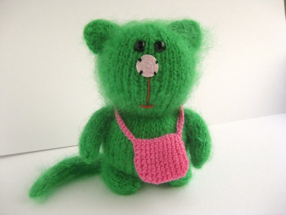 Green Mohair Kitty Cat, Knitted cat, Knitted kitty, New Home Gift, Engagement Ring Carrier, Thank You Gift