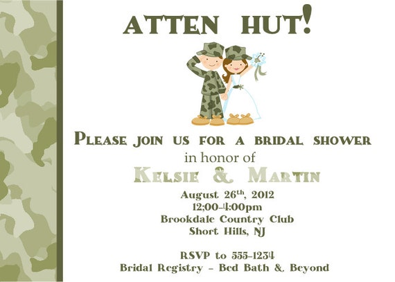 items similar to military bridal shower invitation army on etsy