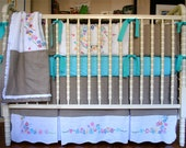 RESERVED FOR LEAH! Crib Bedding, Linen Baby Bedding-3 Pc Set, Vintage Embroidered Daisies!