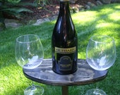 Portable Outdoor Wine Table And Glass Holder - Wine Glasses Included - Stained Ebony