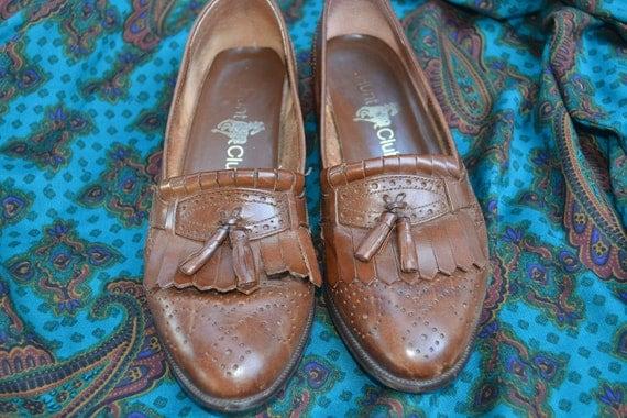 Vintge Hunt Club Leather shoes 7 tassled oxfords