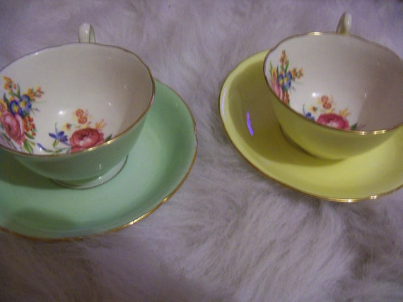 Reserved for Frangi - Set of 2 Antique Tea Cups and Plates