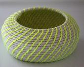 Upcycled Natural & Neon Baskets: Yellow / Coiled / Medium