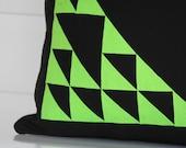 Geometric Neon Cushion: Green & Black