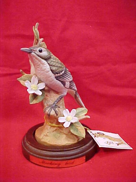 Lefton Porcelain Mockingbird with Stand Vintage Rustic Cottage Boho Loft