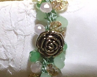 Pink, Green, Lt Amber  Crystal Wrap Crocheted Necklace or Bracelet with Silver Rose Closure