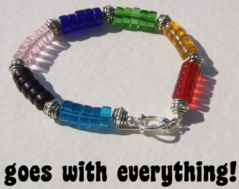 Rainbow Glass Beads Heishe Bracelet Chunky Red Blue Yellow Green Pink