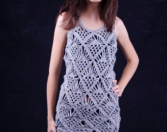 Grey tunic dress handmade unique crochet