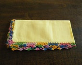 Ladies Yellow Handkerchief with Multi Colored Crocheted Trim