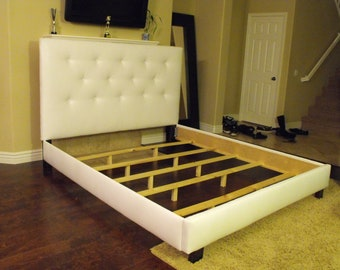 king or cal king button tufted headboard and bed frame. Black Bedroom Furniture Sets. Home Design Ideas