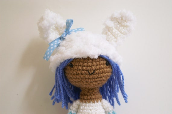Crochet Sonja Snow Bunny  Blue Amigurumi Doll