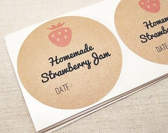 60 Mason Jar Labels for Homemade Strawberry Jam Jelly Labels Canning Labels