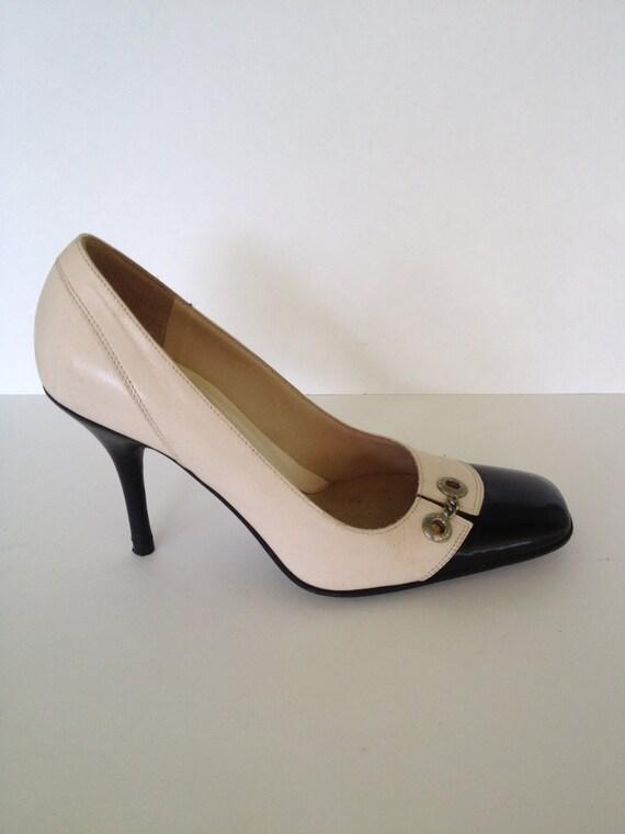 Via Spiga, Hot Italian  Black & Cream Vintage Heels