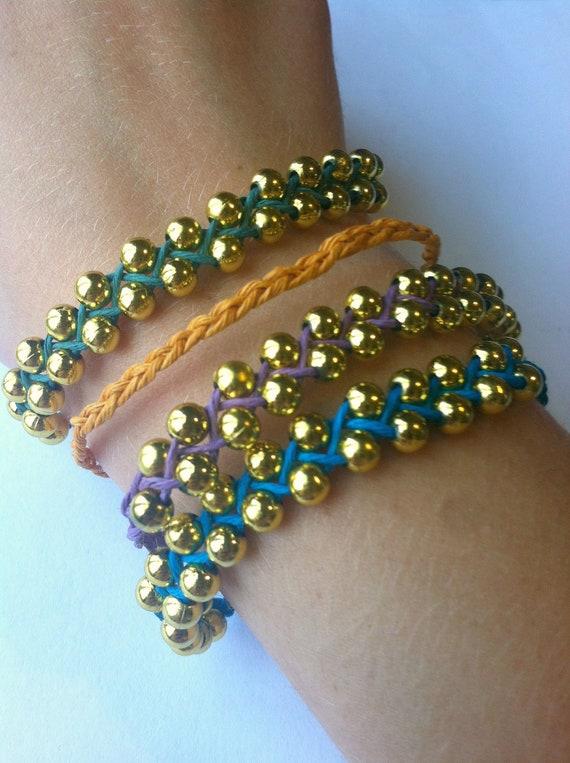 Beaded Bracelets- 4 Bracelets, Purple, Gold, Green, and Blue, Stacking Bracelets, Gift for Teenage Girls, Gold Beaded Bracelets