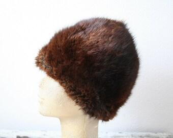 """Vintage mink fur hat, deep hat, vintage fur hat, acorn hat, size 21"""" (53cm), size small, womens winter fashion, contemporary fashion"""