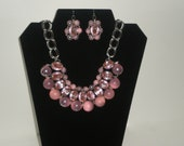 Unique Pink Pearl and Rhinestone Necklace